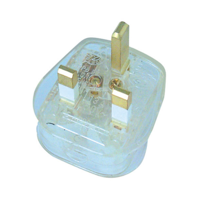 3 Amp Rewireable UK Plug - Clear