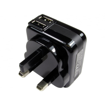 Black Two port USB charger (2.1 Amp)
