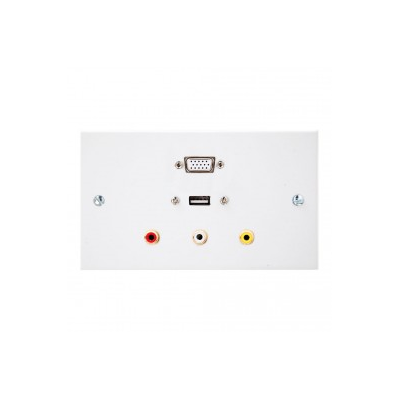 Double Gang VGA, USB A-A, 3 RCA Wall Plate.