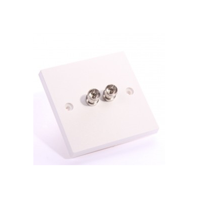 Single Gang Twin TV Coupler Wall Plate. Plug and Play