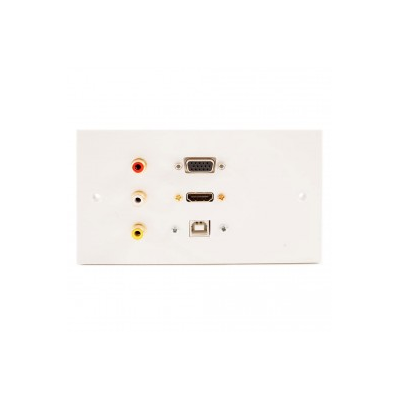 Double Gang HDMI, VGA, USB B and 3 RCA Wall Plate.