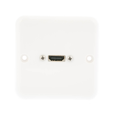 European Plug and Play Wall Play. HDMI Female Connection. Single Gang White Plastic. 80mm x 80mm