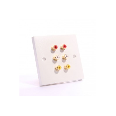 White Single Gang 6 RCA Solder Wall Plate. 2x White, Red, Yellow
