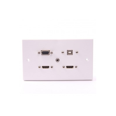 White Double Gang Twin HDMI, VGA, USB B-A (15cm), 3.5mm Wall Plate.