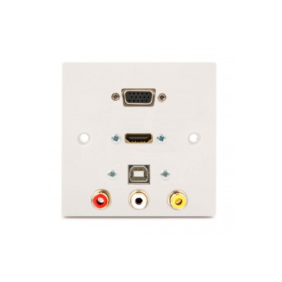 Single Gang VGA, HDMI, USB B-A, 3 RCA Wall Plate.