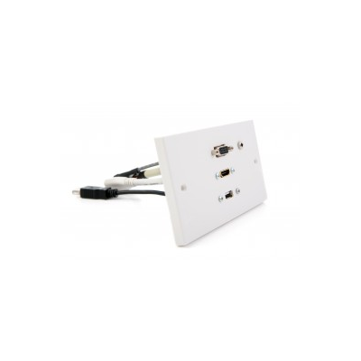 Double Gang Wall Plate HDMI, VGA, USB A-A (15cm) 3.5mm. Plug and Play