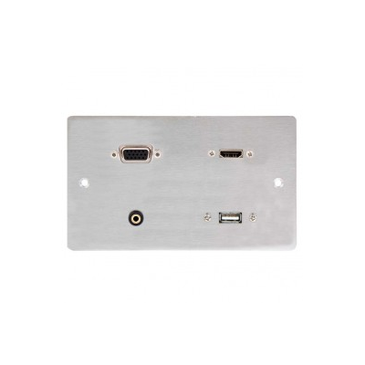 Metal Double Gang HDMI VGA USB A & 3.5mm Wall Plate. 1 to 10 Metres