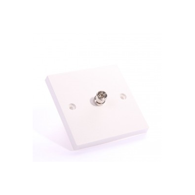 White Single Gang TV Solder Wall Plate.