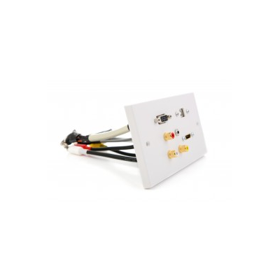 Double Gang Hdmi, Vga, Usb B-A, 3.5Mm, 3 Rca Wall Plate| EuroNetwork