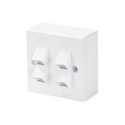 White Single Gang 4 Angled RJ45 Krone Wall Plate