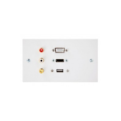 Double Gang HDMI, VGA, USB A-A, 3 RCA Wall Plate.
