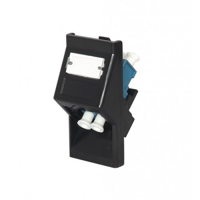 Black LC-LC Fibre Euro Module. 25x50mm