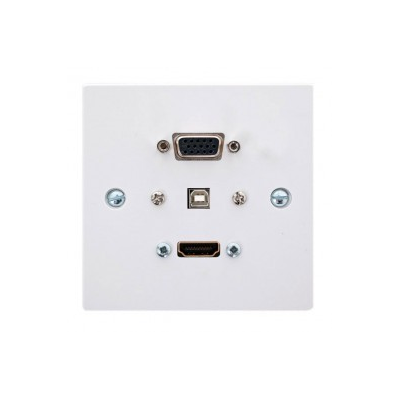 Single Gang HDMI, VGA, USB B-A (15cm) Wall Plate.