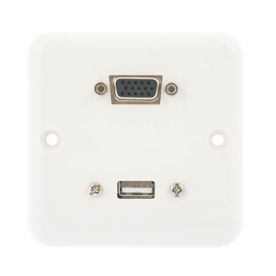 European Plug and Play Wall Plate. VGA and USB A Female Connections. Single Gang White Plastic. 80mm x 80mm