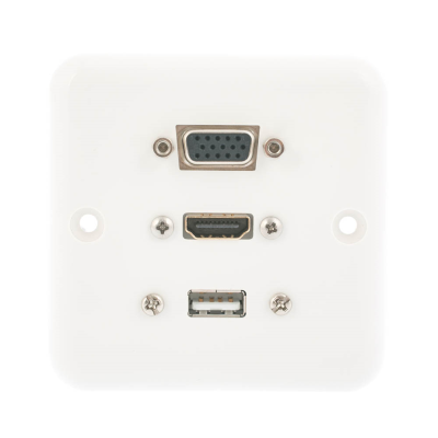 European Plug and Play Wall Plate. HDMI, USB A and SVGA Female Connections