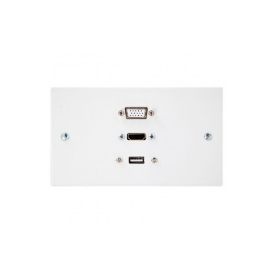 Double Gang HDMI, VGA, USB A-A (15cm) Wall Plate.