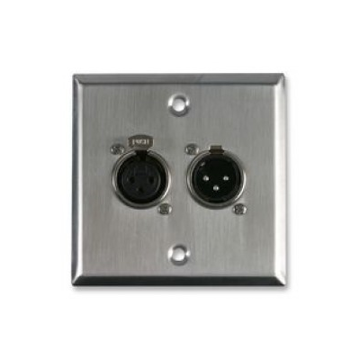 Metal Single Gang Xlr Plug And Socket Solder Wall Plate