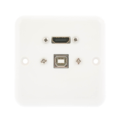 Euro size Wall plate. HDMI and USB B presented with 10 metre of cable length attached. White Plastic Single Gang Faceplate. 80 x 80mm