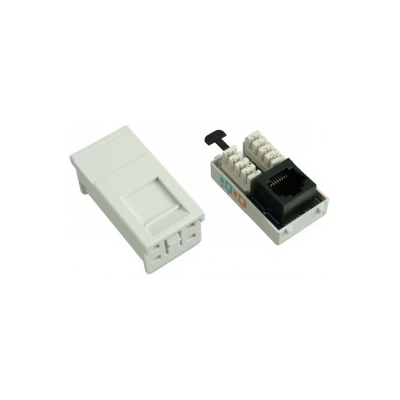 White Cat5e FTP Euro Module. 25x50mm