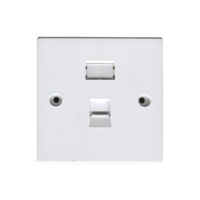 White Single Gang Cat5E Krone Wall Plate.