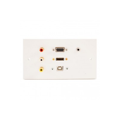 Double Gang HDMI, VGA, USB B (15cm), 3.5mm, 3 RCA Wall Plate.