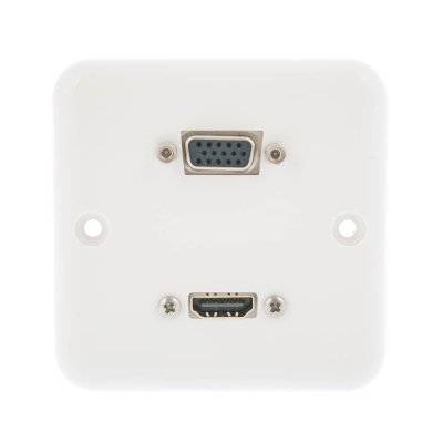 European Plug and Play Wall Plate. Twin HDMI Female Connections. Single Gang White Plastic. 80mm x 80mm