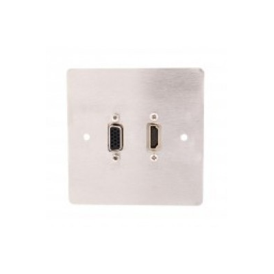 Metal Stainless Steel Single Gang Wall Plate HDMI and SVGA. Plug and Play