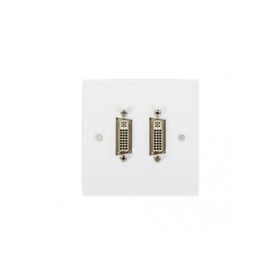 Single Gang Twin DVI Coupler Wall Plate. Plug and Play