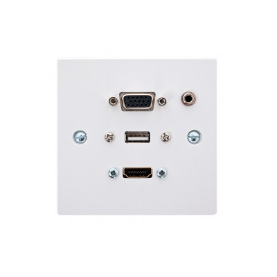 Single Gang HDMI, VGA, USB A-A (15cm), 3.5mm.