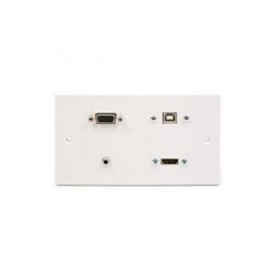White Plastic Double Gang Wall Plate. HDMI, VGA, USB B, 3.5mm. 1 to 10 Metres