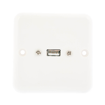 European Plug and Play Wall Plate. USB A Female Connection. Single Gang White Plastic 80mm x 80mm