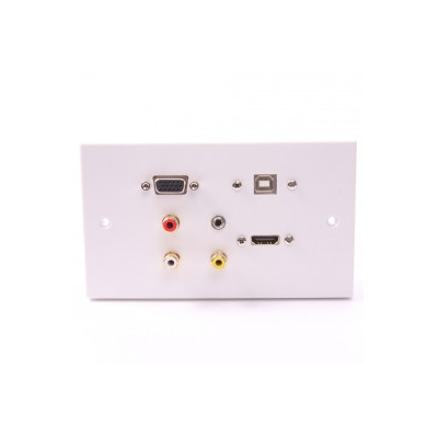 Double Gang HDMI, VGA, USB B, 3.5mm, RCA Wall Plate. 1 to 10 Metres