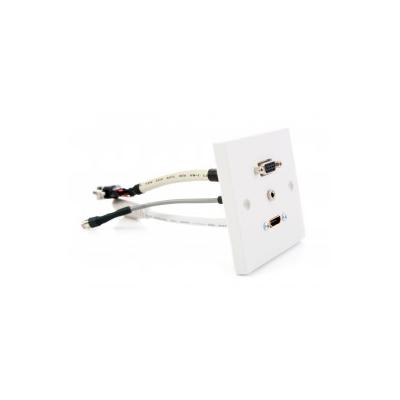 White Single Gang HDMI, VGA, 3.5mm Coupler Wall Plate.