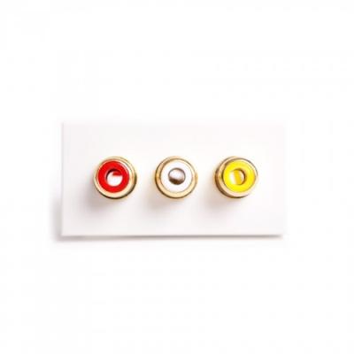 White 3 RCA (R,W,Y) Solder Euro Module. 25x50mm
