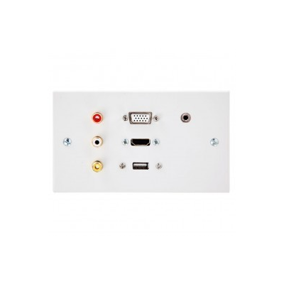 Double Gang HDMI, VGA, USB A-A (15cm), 3.5mm, 3 RCA Wall Plate.