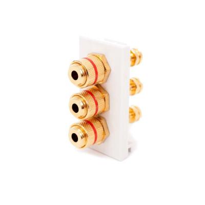 3 Speaker White Euro Module. Red Binding Posts