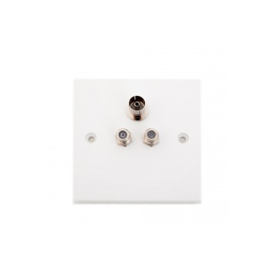 2 x Satellite and 1 x TV Wall Plate. Single Gang. Plug and Play Audio Visual Faceplate.
