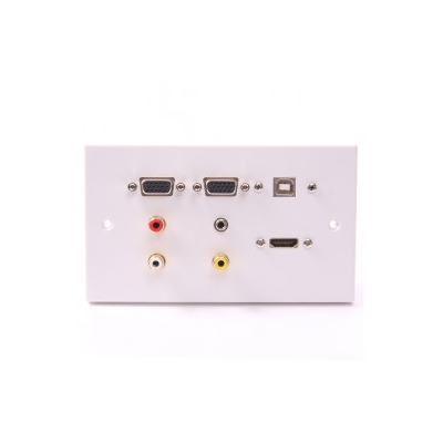 White Double Gang Twin VGA, 1x HDMI, USB B-B (15cm), 3.5mm, 3 RCA Wall Plate.