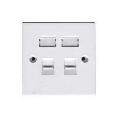 White Single Gang Twin Cat5E Krone Wall Plate.