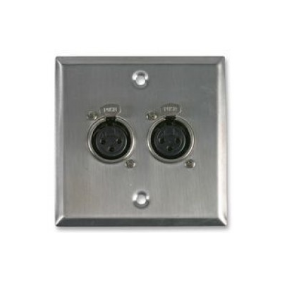 Metal Single Gang Twin XLR Socket Solder Wall Plate