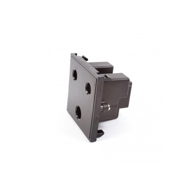 Black 15 Amp Round Pin Socket. Euro Module.
