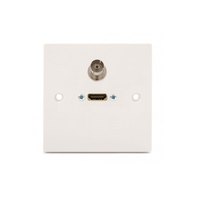 Single Gang Wall Plate HDMI and TV. Plug and Play