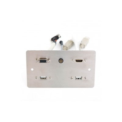 Stainless Steel Double Gang Twin Usb A  Hdmi Vga, 3.5Mm