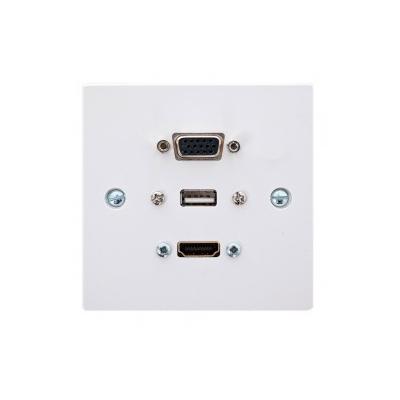Single Gang  VGA, HDMI & USB A Wall Plate.