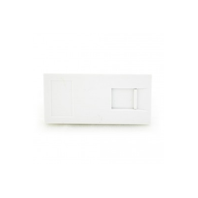 White Telephone RJ11 Euro module. 25x50mm