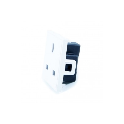 White UK 13A Socket Power Euro Module. 50x50mm.