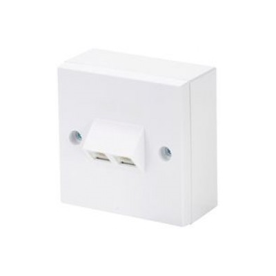 White Single Gang Twin Angled RJ45 Krone Wall Plate