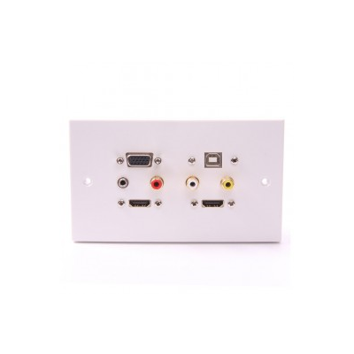 White Double Gang Twin HDMI, VGA, USB B-A (15cm), 3.5mm, 3 RCA Wall Plate.