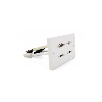 Double Gang Twin Hdmi, 1 X Vga, Usb B-A Coupler Wall Plate.