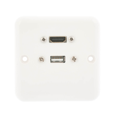 European Plug and Play  Wall Plate. HDMI and USB A Female Connections. Single Gang White Plastic. 80mm x 80mm